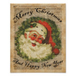 Vintage Happy Santa Christmas Greetings Art Poster