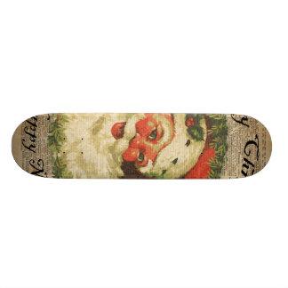 Vintage Happy Santa Christmas Greetings Art Skateboard Decks