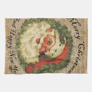 Vintage Happy Santa Christmas Greetings Art Towel