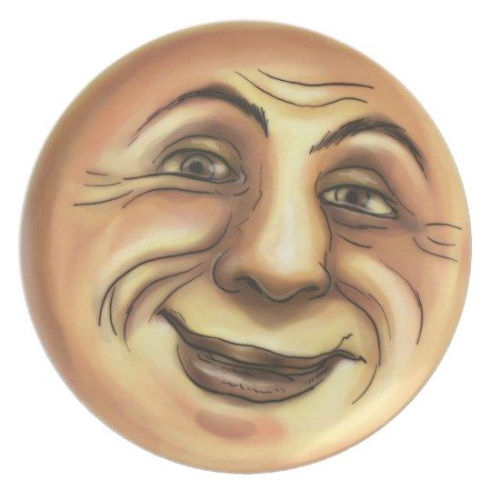 Vintage Happy Smiling Moon Plate