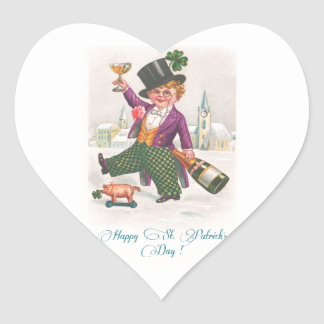 Vintage Happy St Patricks Day Shamrock Champagne Heart Sticker