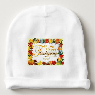 Vintage Happy Thanksgiving Colorful Leaves Baby Beanie