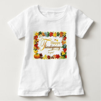 Vintage Happy Thanksgiving Colourful Leaves Baby Bodysuit