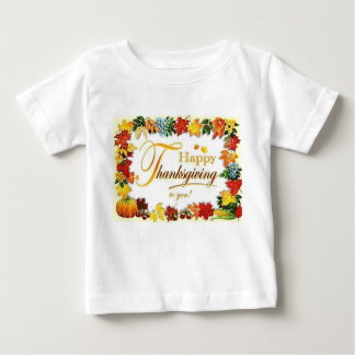 Vintage Happy Thanksgiving Colourful Leaves Baby T-Shirt