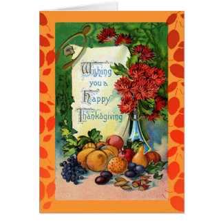 Vintage Happy Thanksgiving Floral Falling Leaves Card