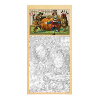 Vintage Happy Thanksgiving Photocard Custom Photo Card