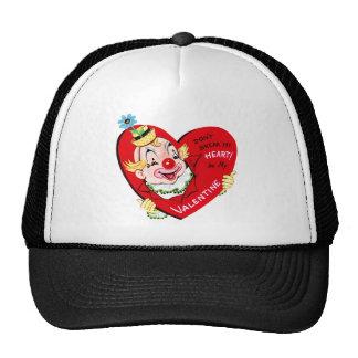 Vintage Happy Valentine Clown with Heart Cap