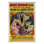 Vintage Harry Houdini Prison Cell & Barrel Mystery Poster