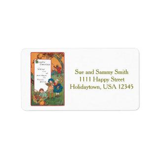 Vintage Harvest Children and Thanksgiving Verse Address Label