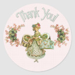 Vintage Hat Box Lady Thank You Stickers