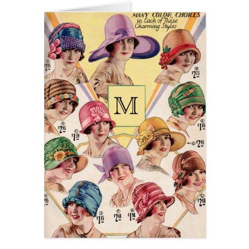 Vintage Hats Custom Monogram greeting cards