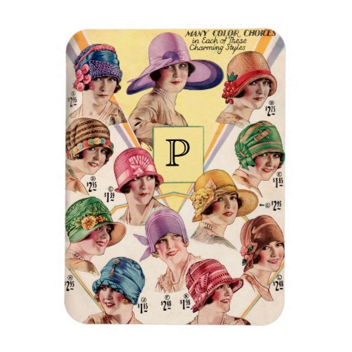 Vintage Hats Custom Monogram magnet