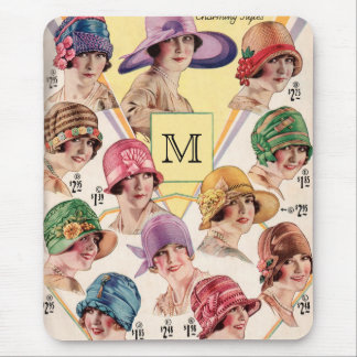 Vintage Hats Custom Monogram mousepad