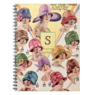 Vintage Hats Custom Monogram notebook