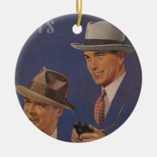 Vintage Hats Round Ceramic Decoration