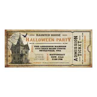 Vintage Haunted House Halloween Party Ticket I Card