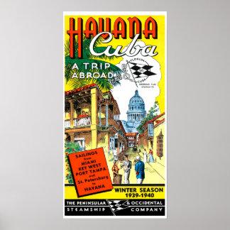 Vintage Havana Cuba Travel Poster
