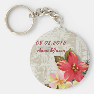 vintage hawaii hibiscus floral tropical wedding basic round button key ring
