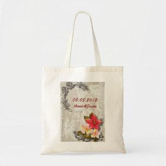 vintage hawaii hibiscus floral tropical wedding budget tote bag