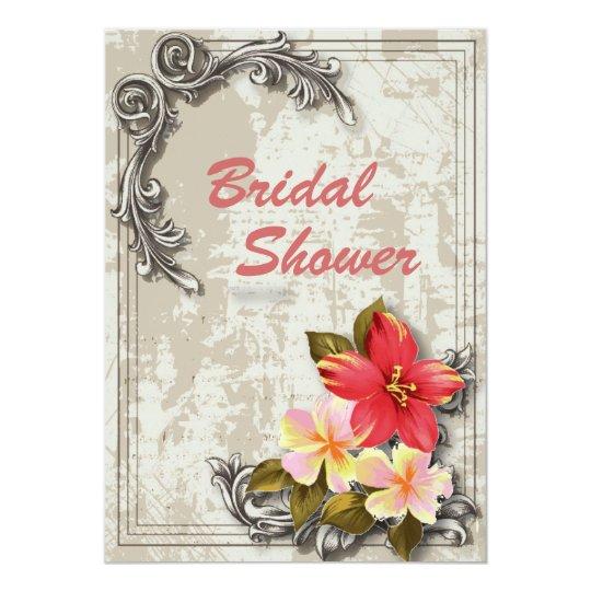 vintage hawaii hibiscus floral tropical wedding card