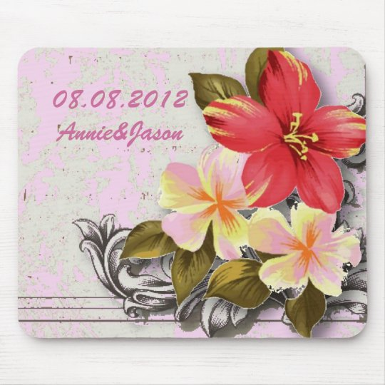 vintage hawaii hibiscus floral tropical wedding mouse mat