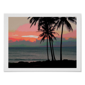 Vintage Hawaii sunset Posters