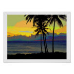 Vintage Hawaii sunset Posters