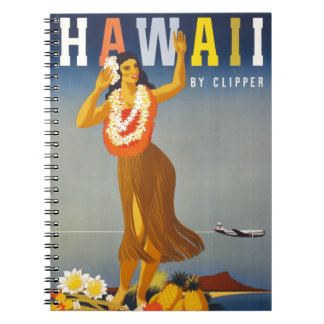 Vintage Hawaii Tourism Poster Scene Notebooks