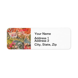 Vintage Hawaii Travel Colorful Hawaiian Tropical Return Address Label
