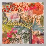 Vintage Hawaii Travel Colourful Hawaiian Tropical Poster