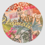 Vintage Hawaii Travel Colourful Hawaiian Tropical Round Sticker