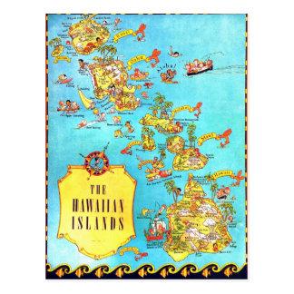 Vintage Hawaiian Islands Map Postcard