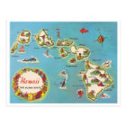 Vintage Hawaiian Map Postcard
