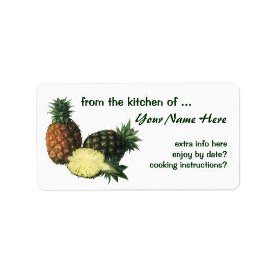 Vintage Hawaiian Pineapples, Organic Food Fruit Address Label