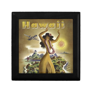 Vintage Hawaiian Travel Poster Small Square Gift Box