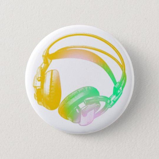 vintage headphones 6 cm round badge