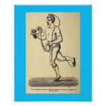 Vintage Health 1874 Pedometer Step Counter Drawing Poster