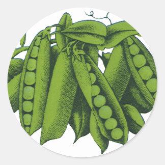 Vintage Healthy Food Vegetables, Sugar Snap Peas Round Stickers