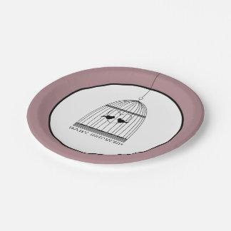 Vintage Heart Birdcage Baby Shower 7 Inch Paper Plate