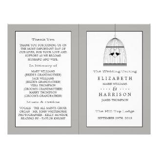 Vintage Heart Birdcage Wedding Bi-fold Program 21.5 Cm X 28 Cm Flyer