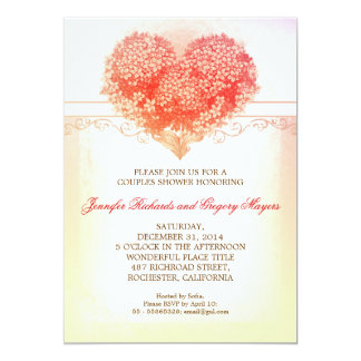 vintage heart blooms creative couple shower invite