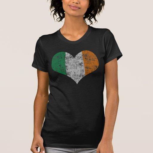 Vintage Heart Flag of Ireland Tshirt