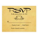 Vintage Heart Gold & Black RSVP Wedding Response Postcard