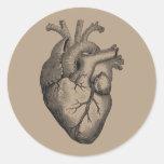 Vintage Heart Illustration Round Sticker