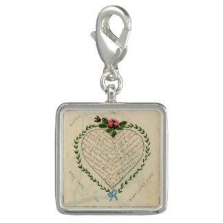 Vintage Heart Image Charm