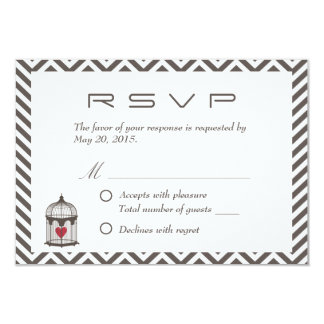 Vintage Heart in Bird Cage Chevron Wedding RSVP 9 Cm X 13 Cm Invitation Card