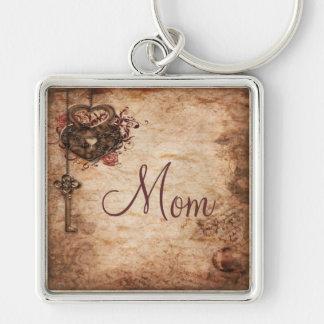 Vintage Heart, Lock & Key Mom Key Chain