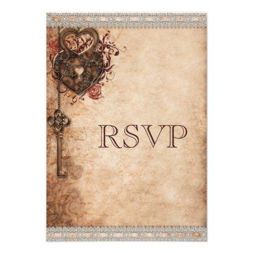 Vintage Heart Lock & Key Wedding RSVP Announcements