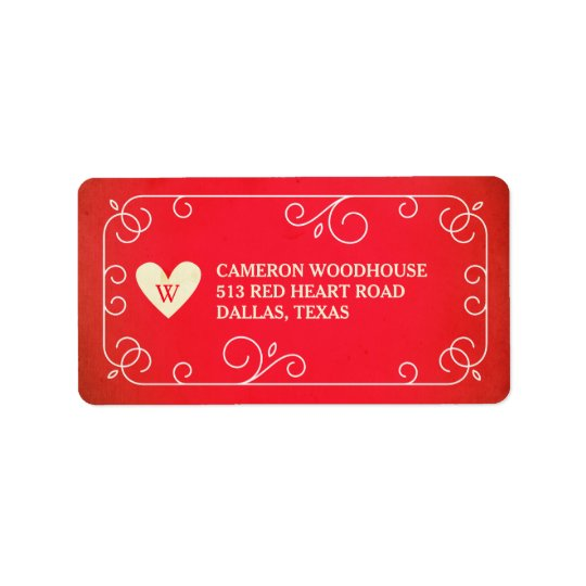 Vintage Heart Monogram Address Label