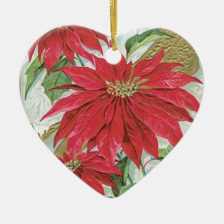 Vintage Heart Poinsettia Double-Sided Heart Ceramic Christmas Ornament